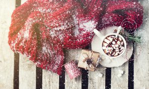 Homemade tasty hot chocolate in a cup with christmas decorations. Christmas, winter or xmas concept