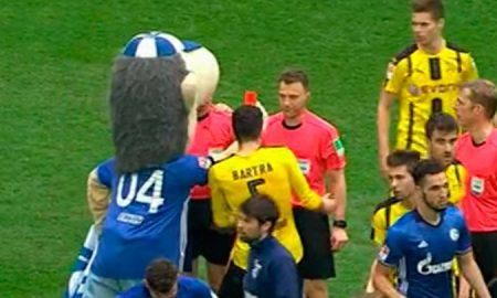 Maskot Schalke baví celý internet: Rozhodcovi ukázal červenú kartu