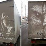 Šikovný ruský umelec premieňa špinavé automobily na nádherné umelecké diela