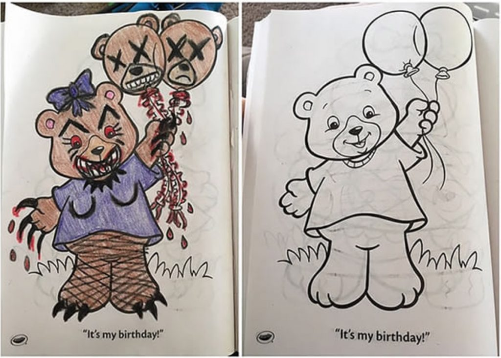 Čo sa stane, ak dospelák chytí do ruky detské omaľovánky: Čierny humor alebo nechutná zvrátenosť?