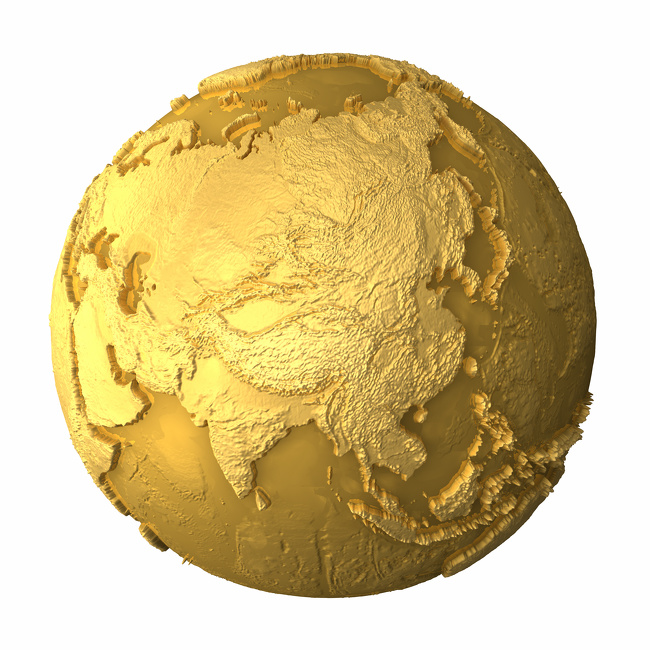 Gold globe - metal earth with realistic topography - asia, 3d render