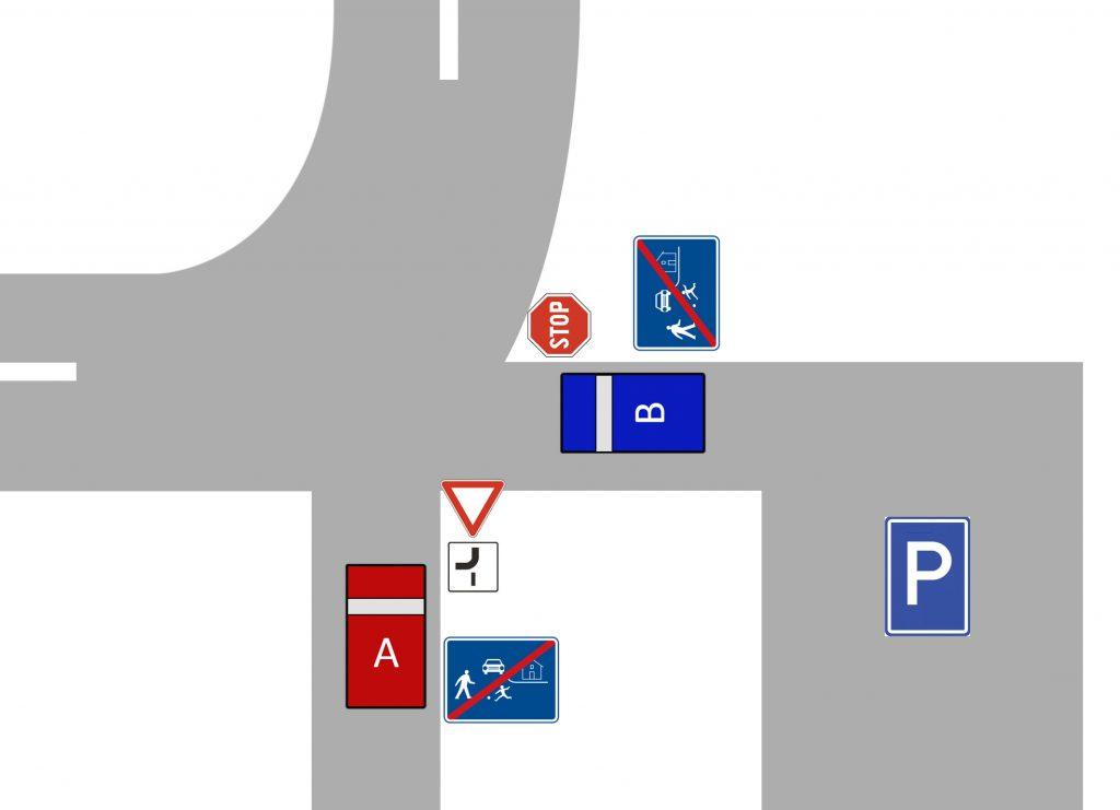 Náčrtok predmetnej križovatky. Aby toho nebolo málo, ide o cesty, ktorými sa končí obytná zóna.