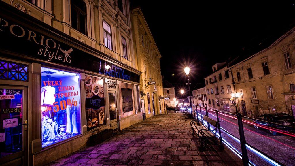 In The Evening Street City Banská štiavnica